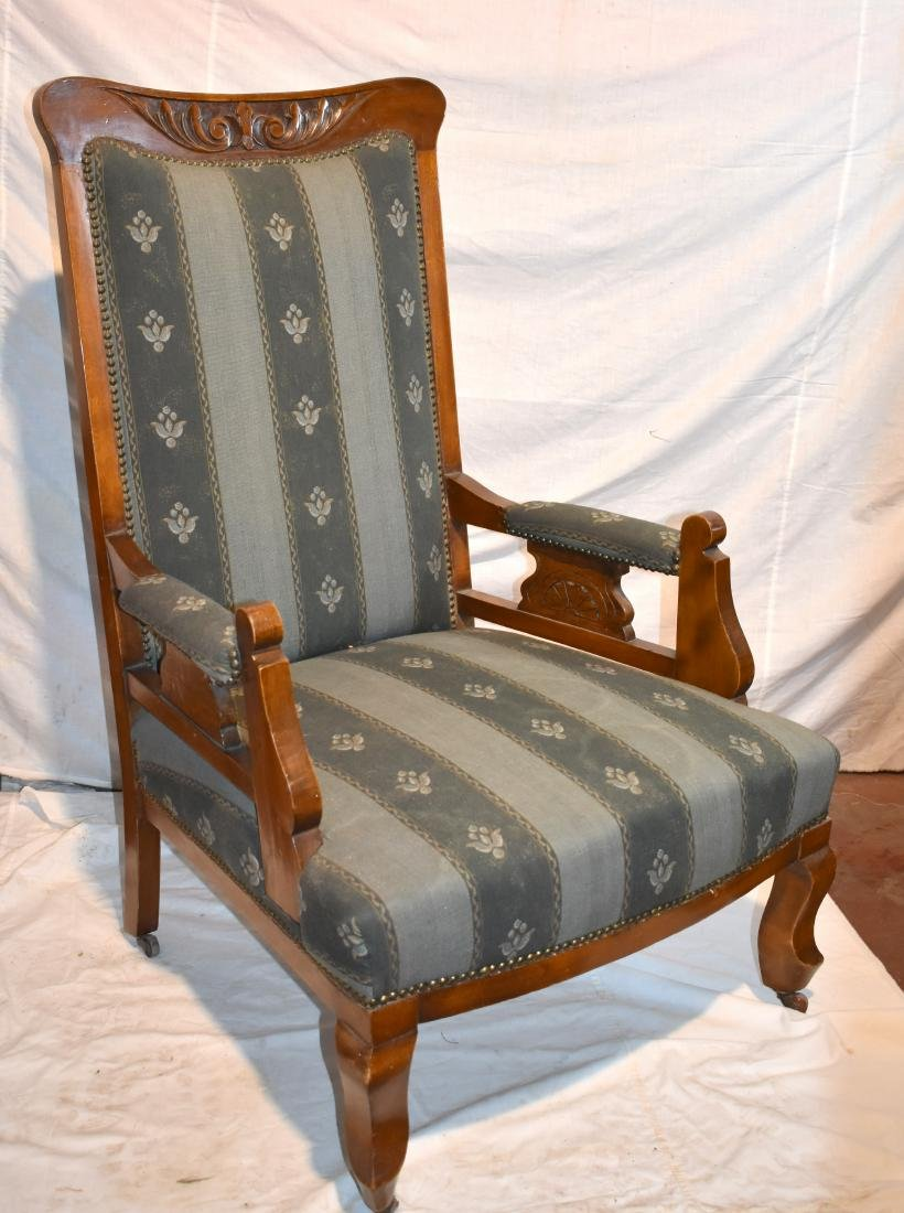 French armchair, from around 1900, reupholstered, blue,