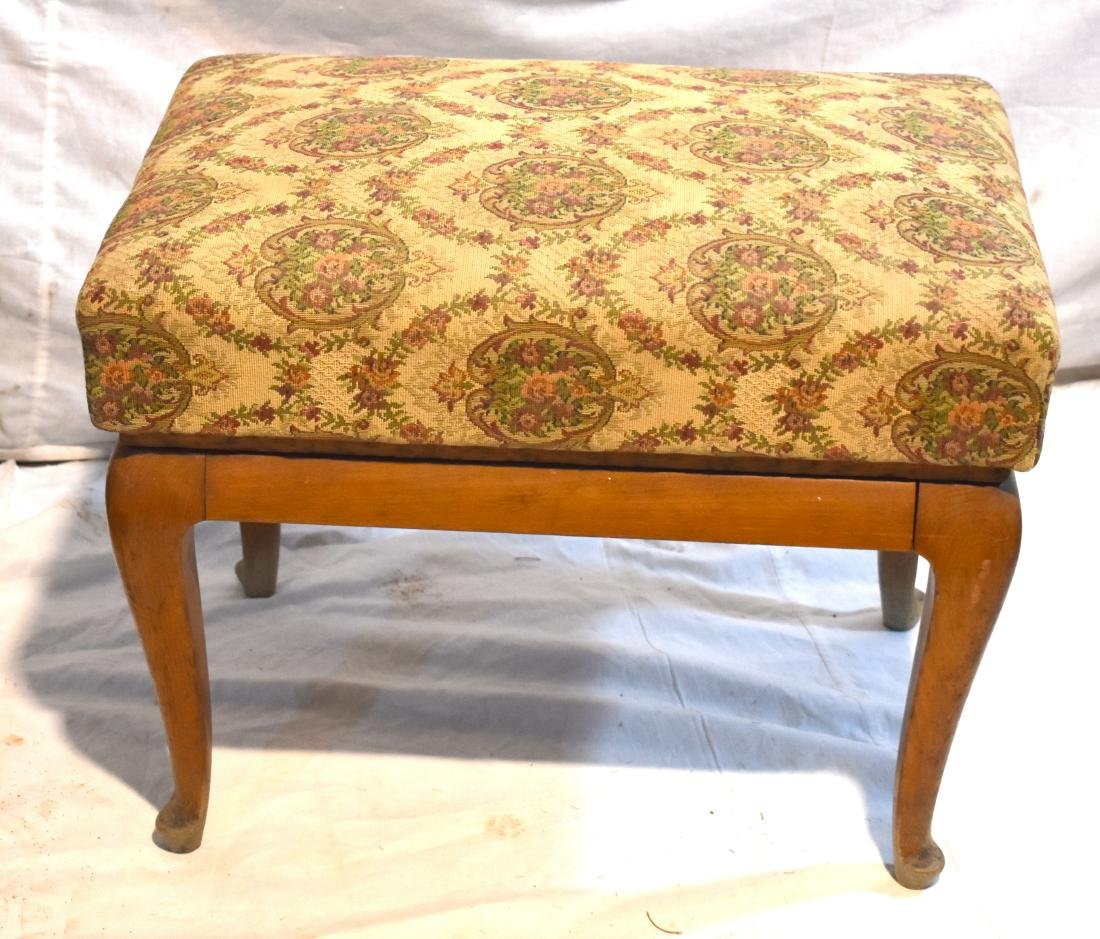 German stool, reupholstered, new legs, made of wood, in