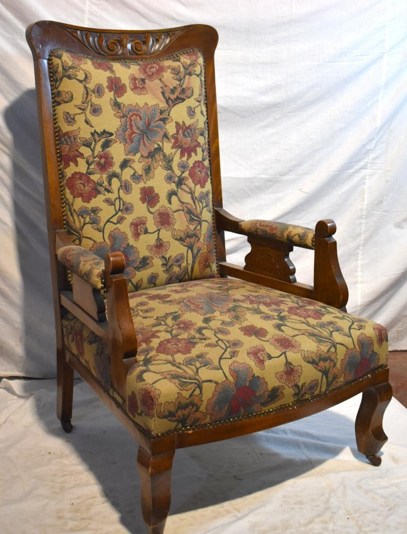 French armchair, from around 1900, reupholstered,