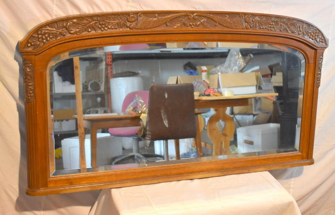 English mirror, wooden frame, hand carved, appears to