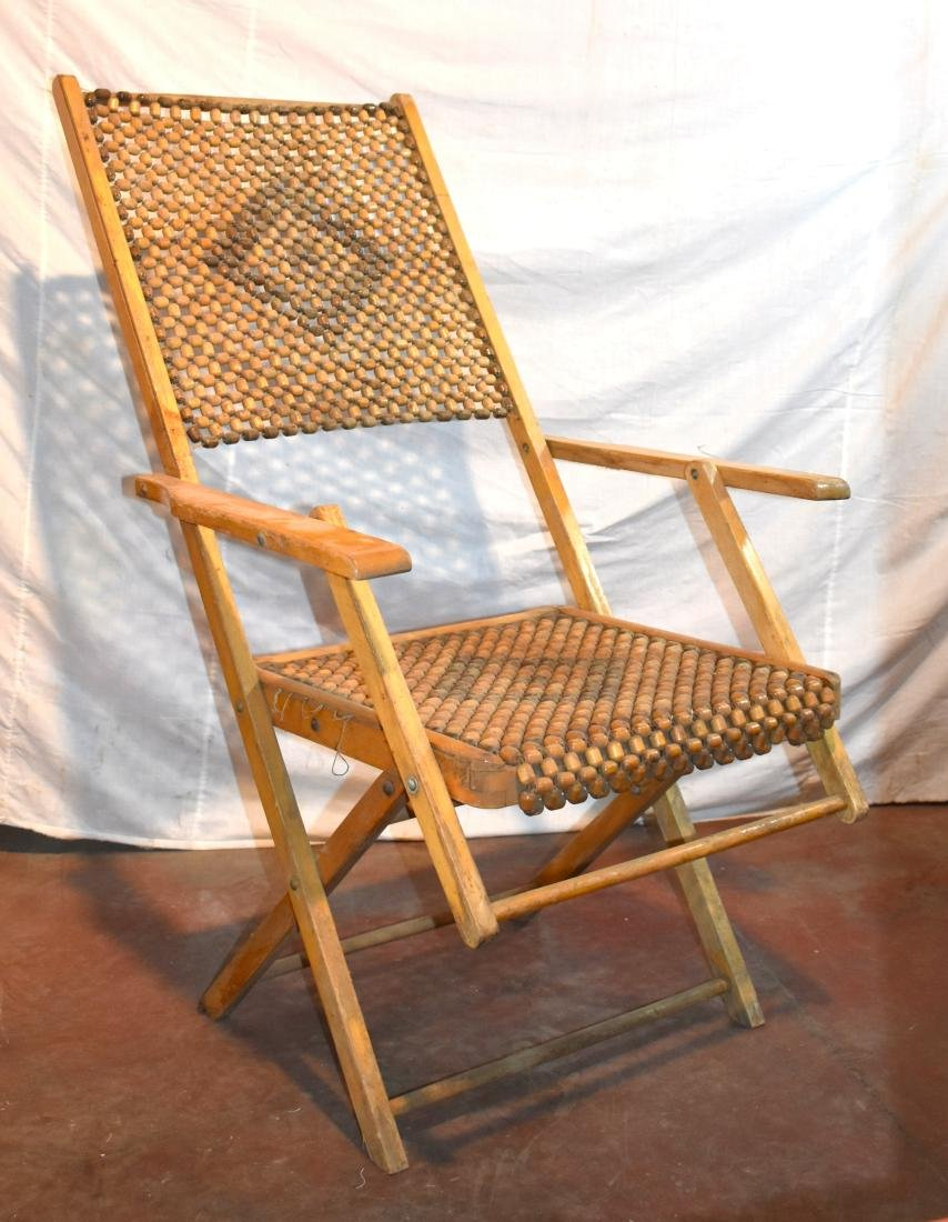 Easy chair, 1950s, made of wood and beads, in excellent