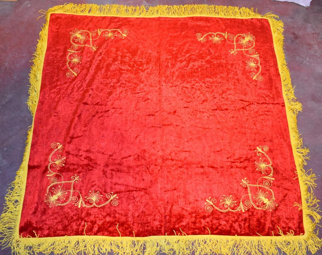 .  Handmade tablecloth, embroidered, old, size: 1.5*1.5