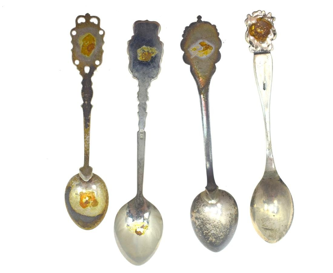 four collector's teaspoons, of silver, hall marked, - 3