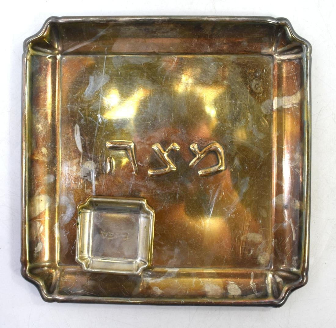 Pair of plates for Pesach, copper, green patina, 1. - 7