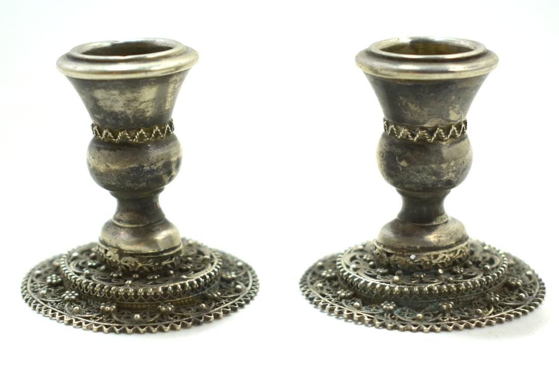 Pair of filagree silver candlesticks, 56 gram