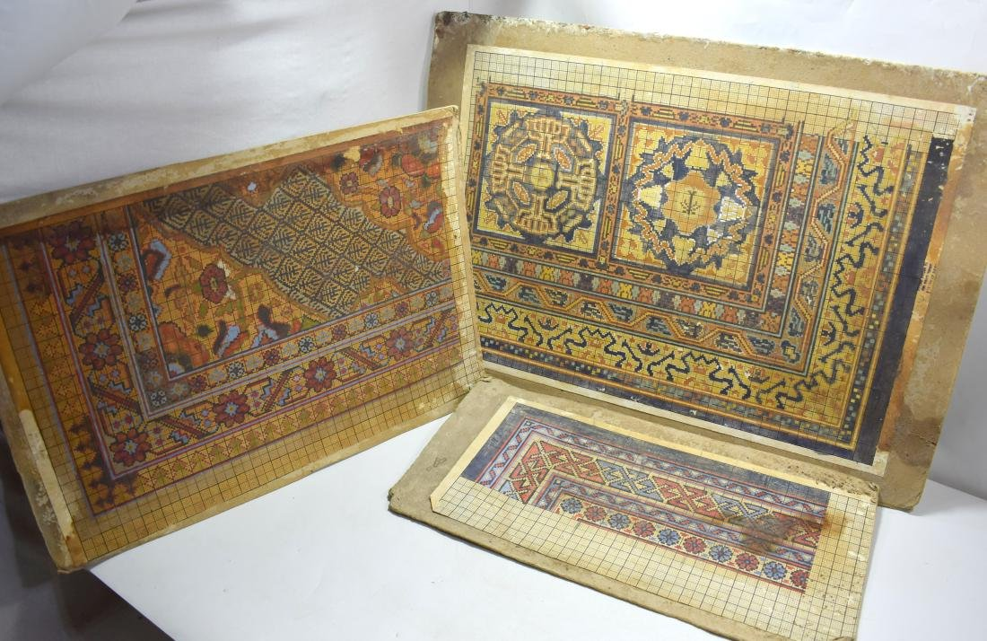 3 Waves (examples) of Bezalel carpets, signed by