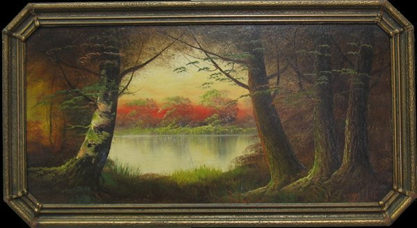 "4: HARRY L. LOPP ""Forest Sunset"" 1920's"