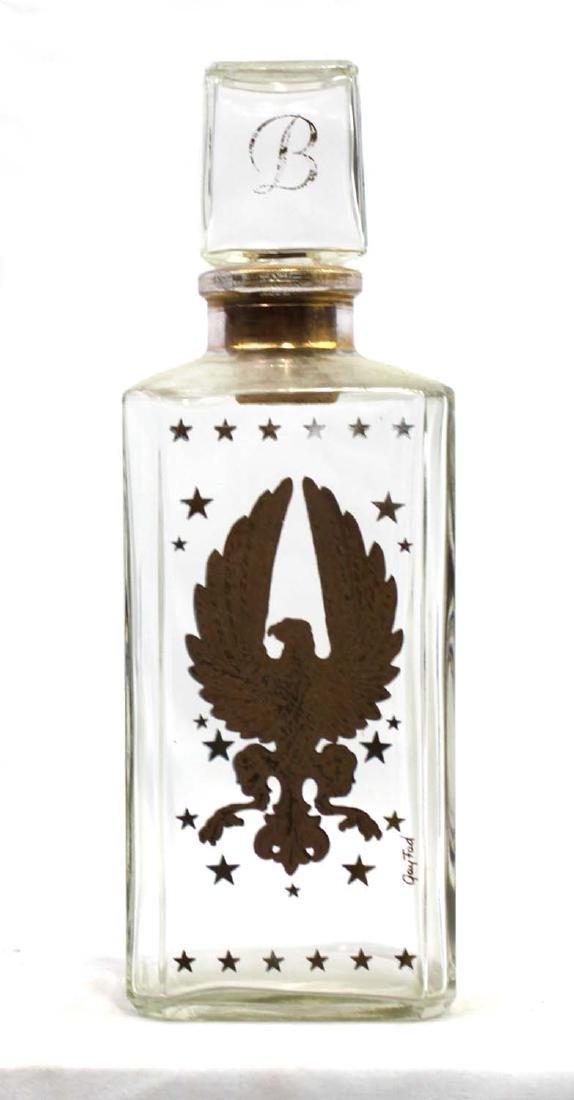 Vintage Liquor Bottle with Gold Eagle