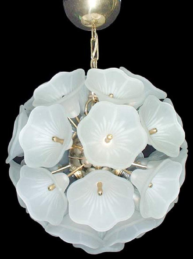 Frosted Glass Chandelier. Circa 1950s.
