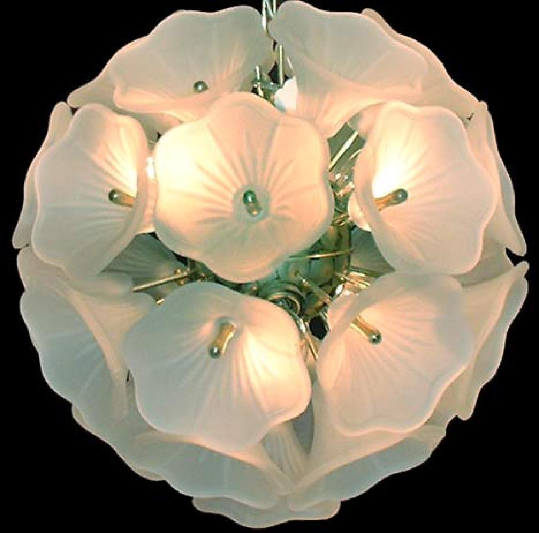 Frosted Glass Chandelier. Circa 1950s. - 5