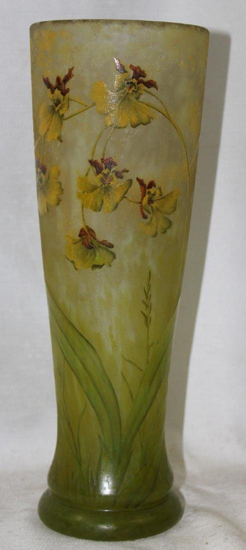 Large French Cameo Glass Daum Nancy Enameled Vase.