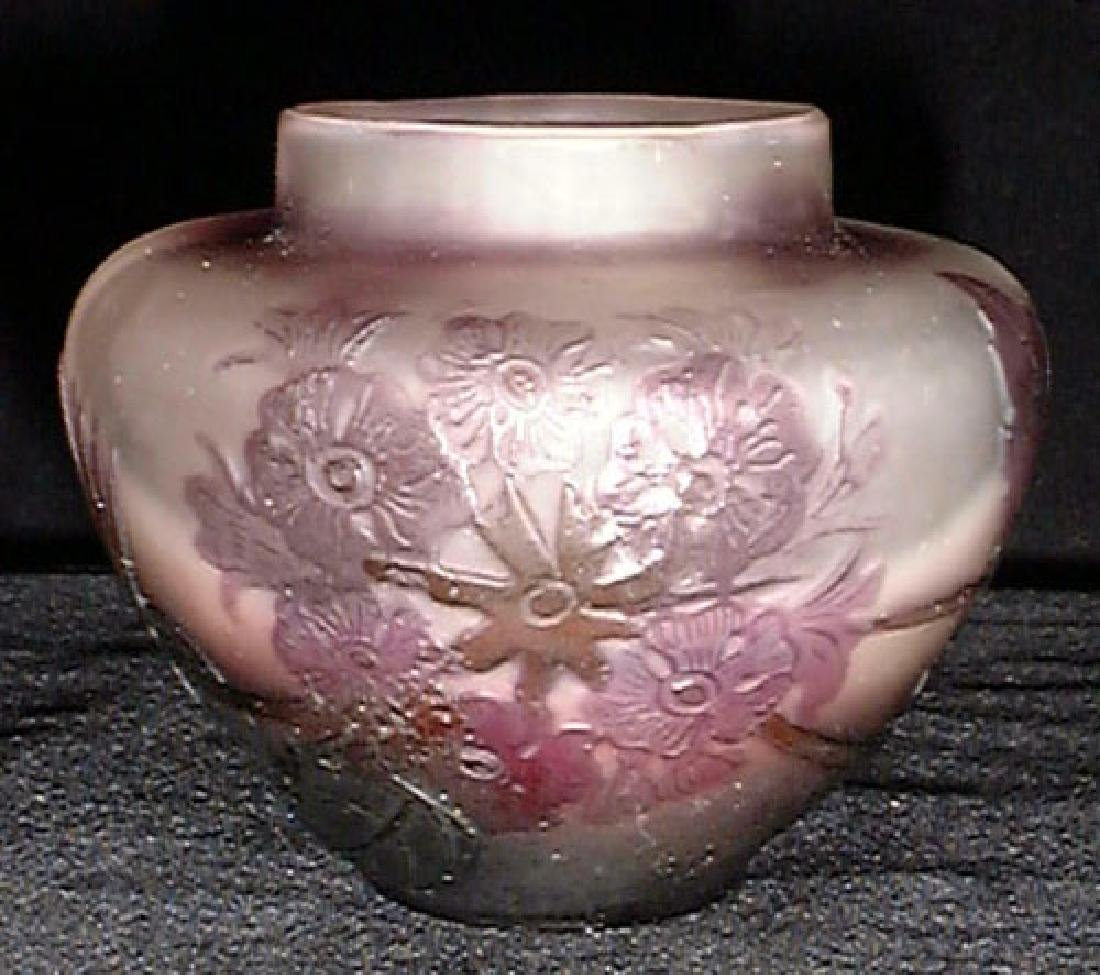French Cameo Glass Vase by Galle, Circa 1910