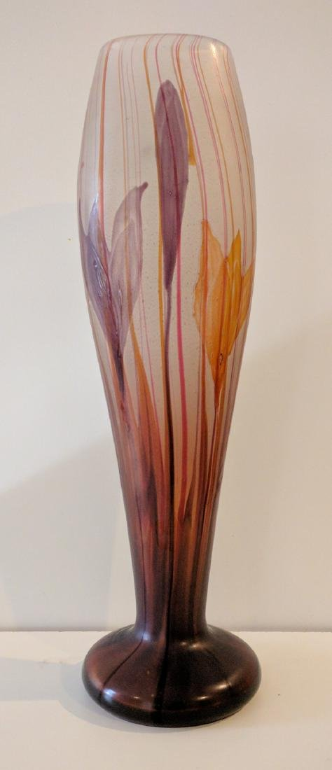 Large Galle Marquetry Glass Crocus Vase