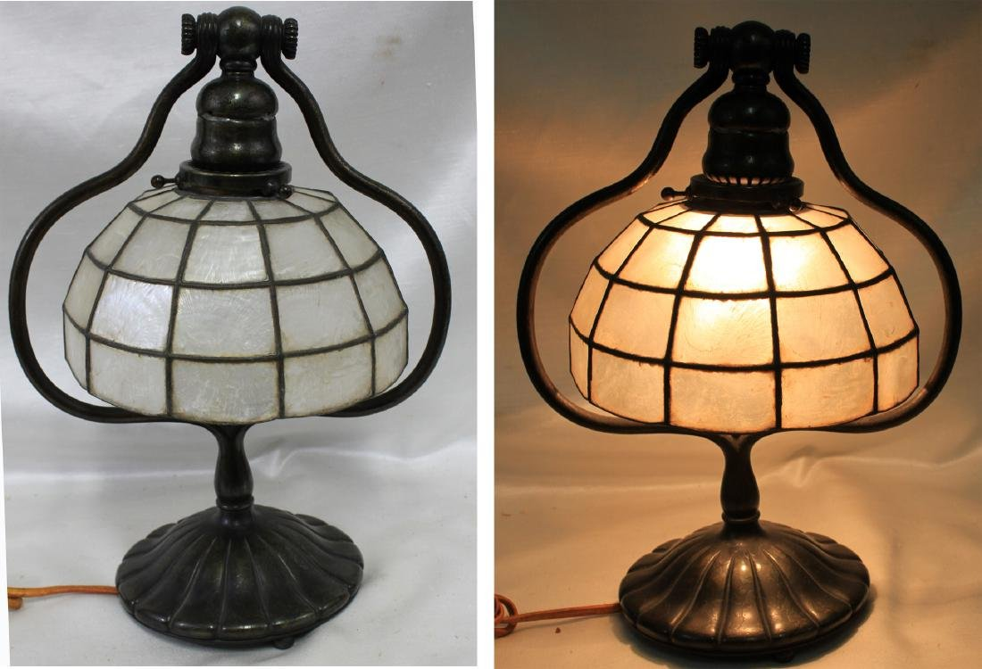 Bronze Tiffany Studios Lamp  Base and Kappa Shell shade