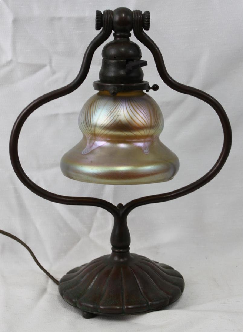 Bronze Tiffany Studios Lamp with Favril Sahde