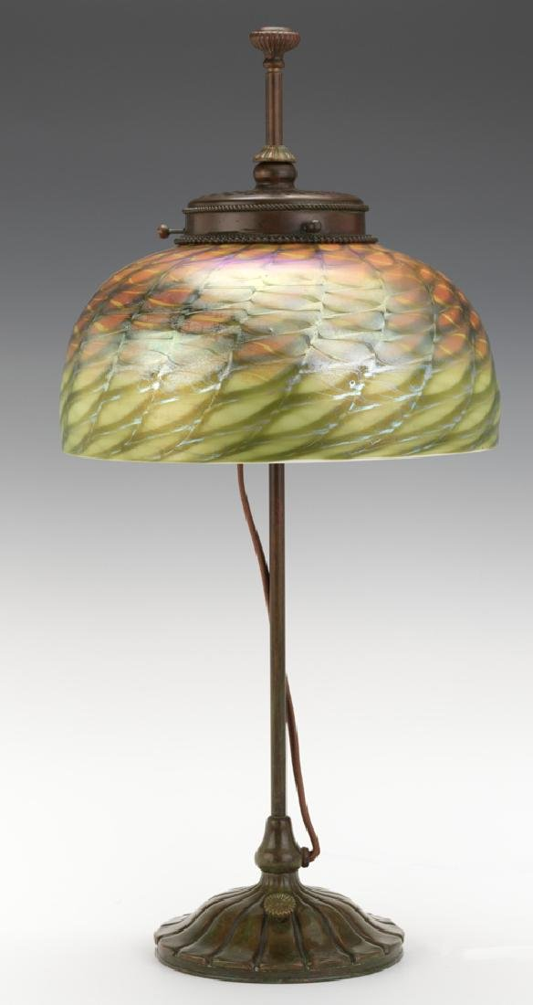 Tiffany Studios Bronze Lamp with Favril Damascene Shade