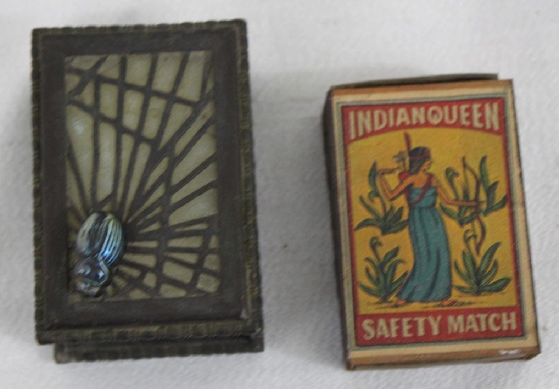 Glass & Bronze Matchbox Holder with Glass Bug