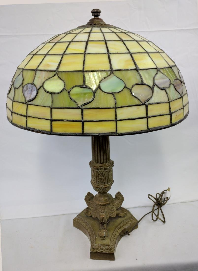American Stained Glass Lamp and Base - 4