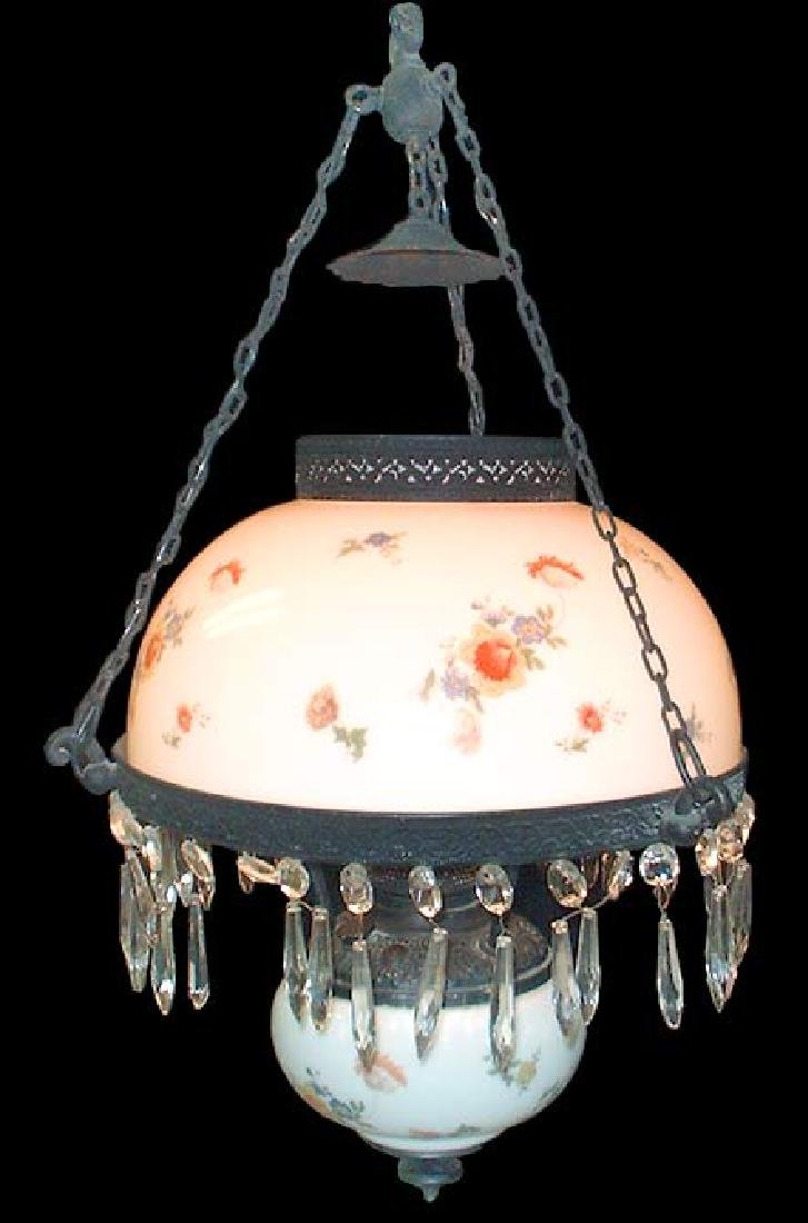 AMERICAN CHANDELIER WITH PORCELAIN SHADES & CRYSTAL