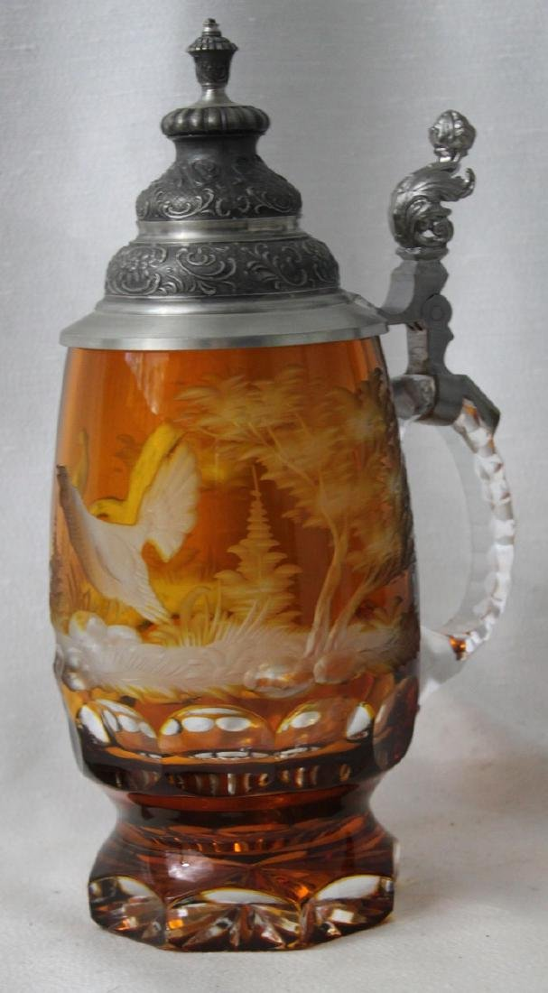 Heavy Bohemian Amber Glass Beer Stein Engraved