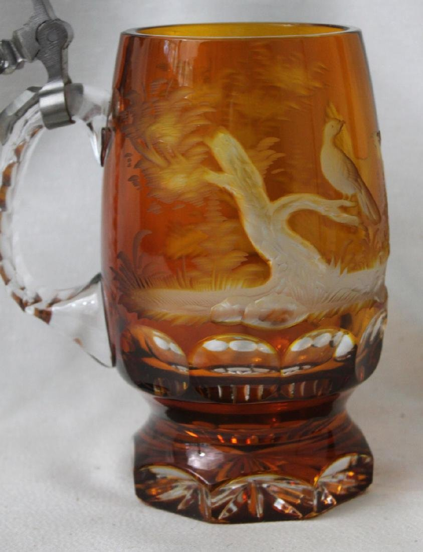 Heavy Bohemian Amber Glass Beer Stein Engraved - 3