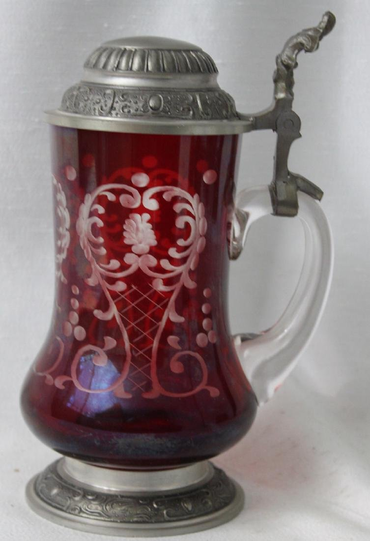 Heavy Bohemian Ruby Glass Beer Stein Engraved.