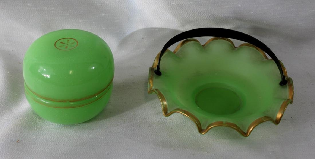Two Antique French Opaline Glass Box and Dish