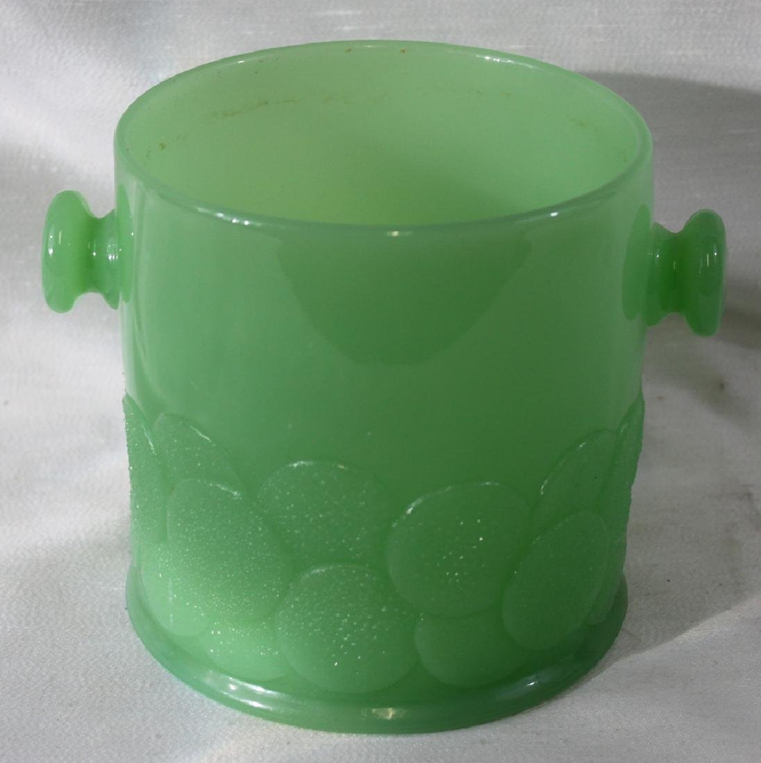"GREEN Fenton ""Macroon"" GLASS JAR (BOWL) WITH HANDLE"
