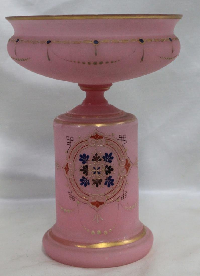 ANTIQUE 19 CENTURY OPALINE GLASS AND ENAMEL COMPOTE