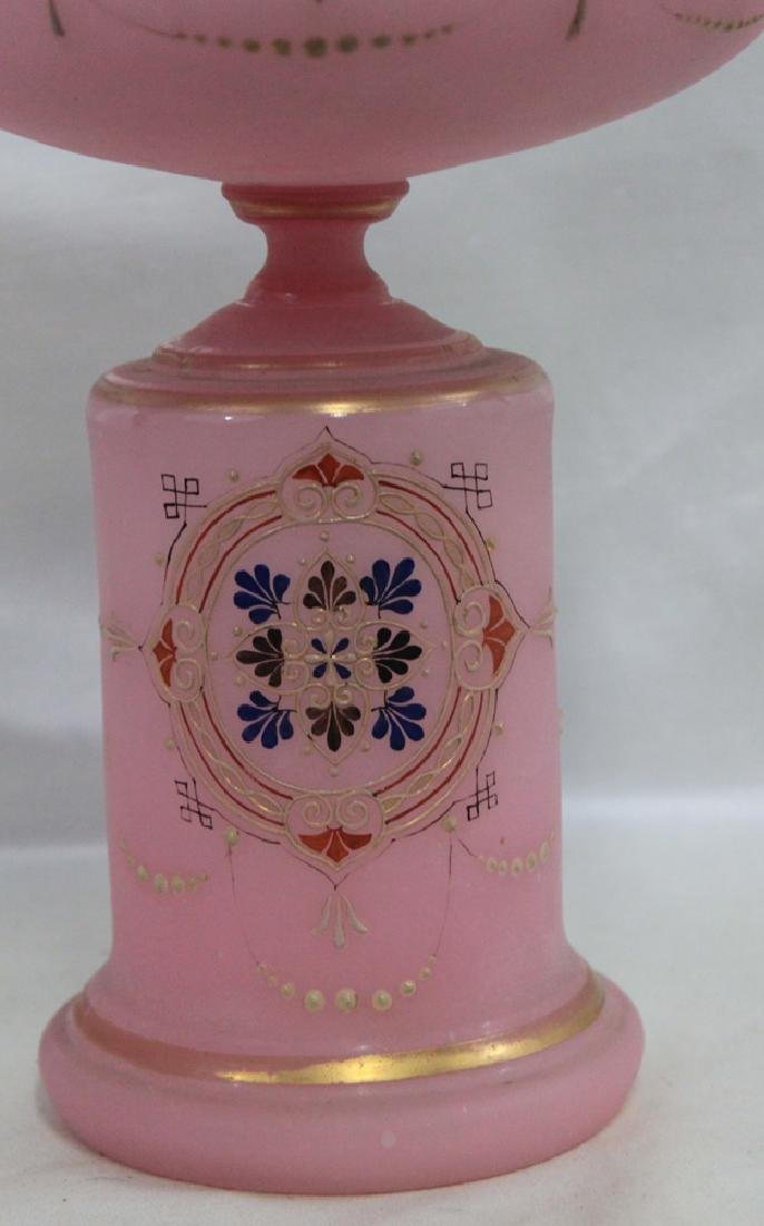 ANTIQUE 19 CENTURY OPALINE GLASS AND ENAMEL COMPOTE - 2