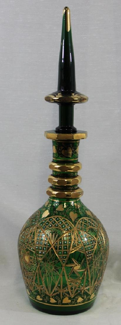 A BOHEMIAN GREEN-FLASH CUT & ENAMELLED DECANTER AND