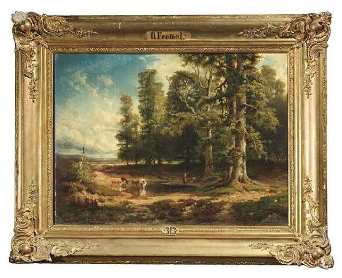 19 Century European Landscape Painting by Frommel Otto