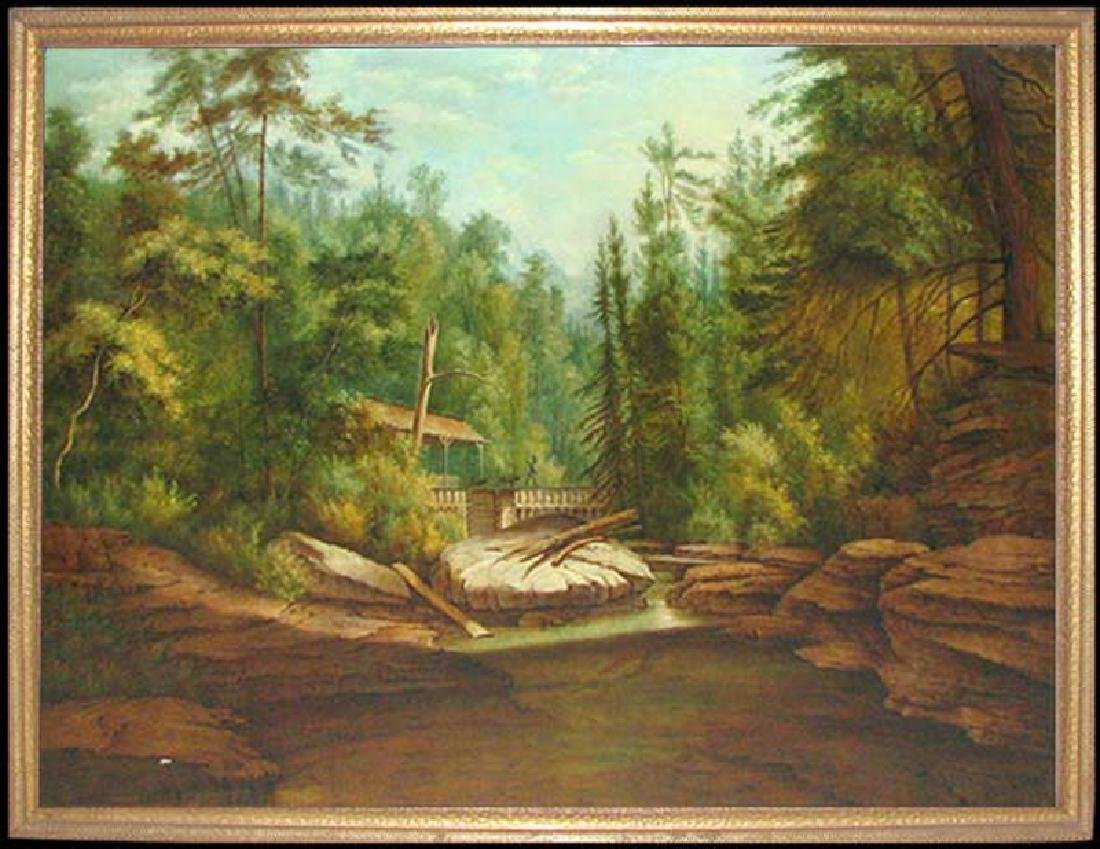 19 Century American Hudson River School Oil On Canvas
