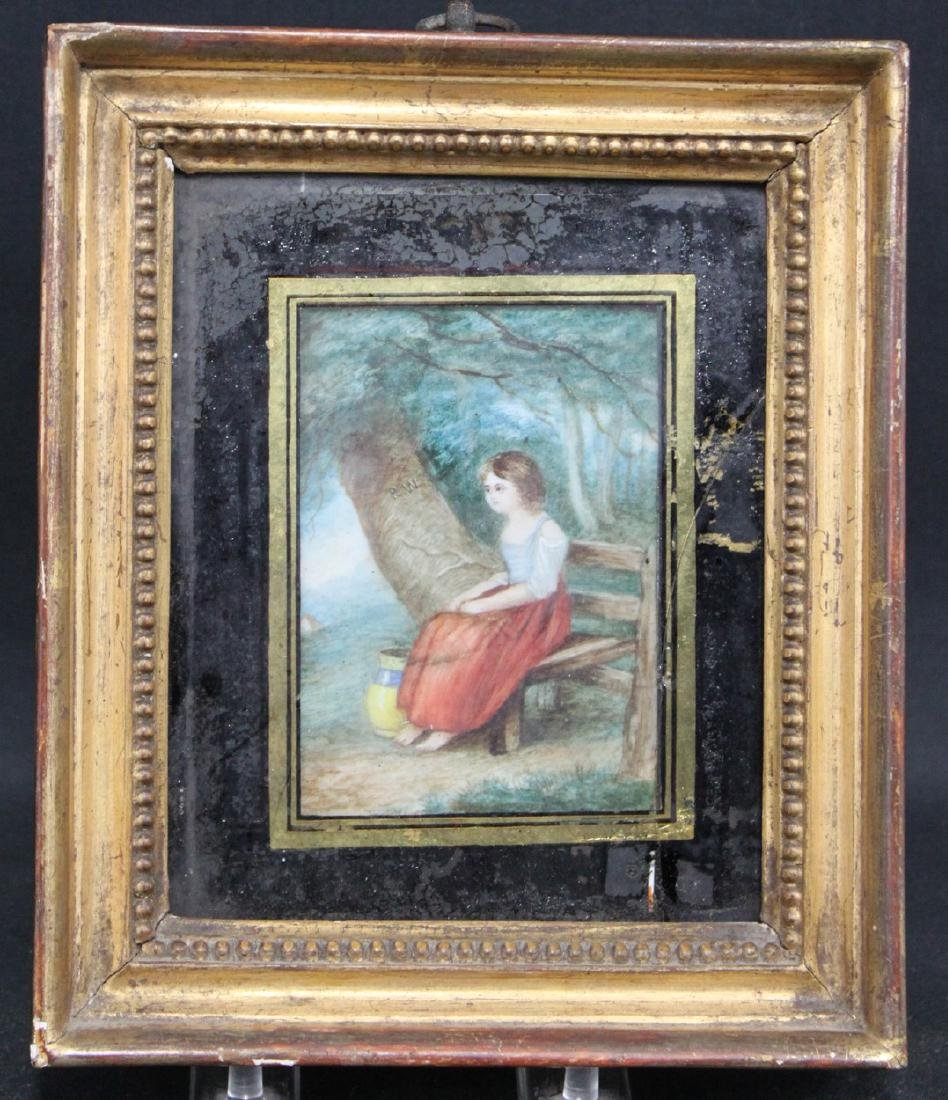 19th Century English Miniature Painting of a Seated