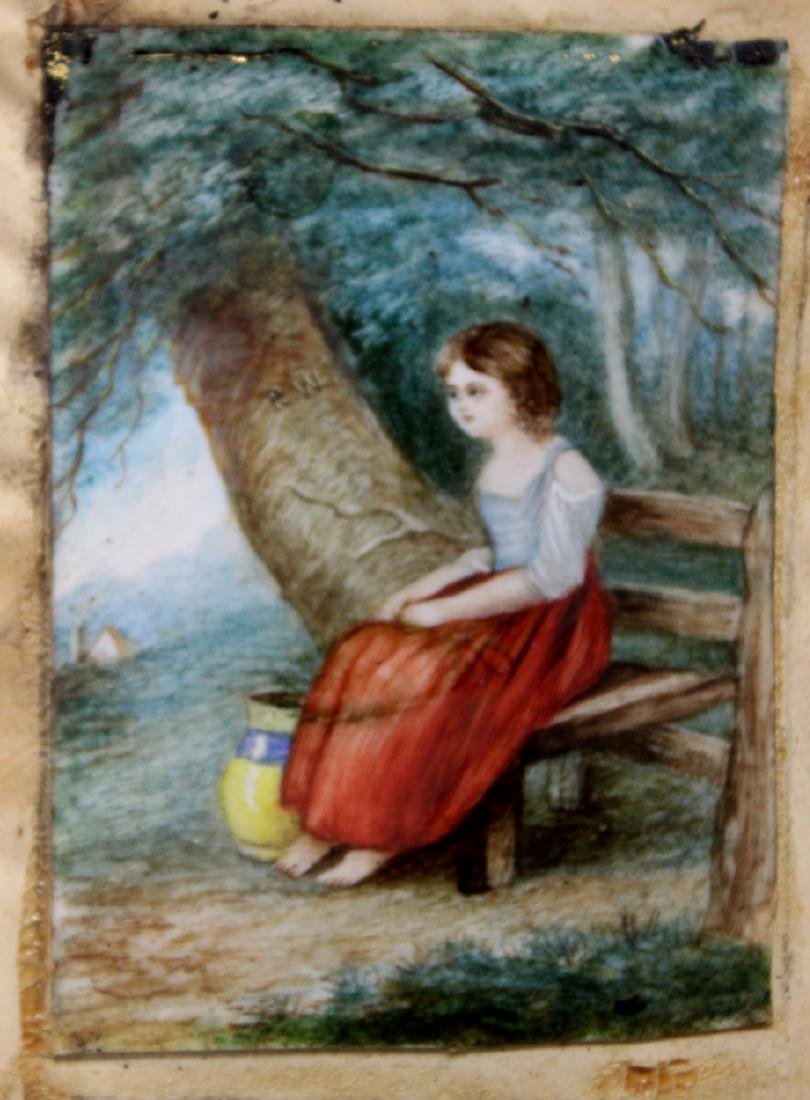 19th Century English Miniature Painting of a Seated - 2