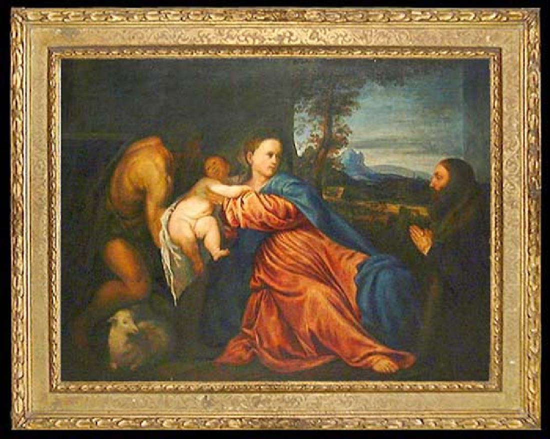 After Titian Oil on Canvas Painting of Madonna and