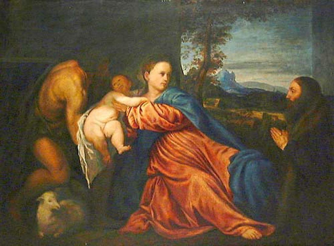 After Titian Oil on Canvas Painting of Madonna and - 2