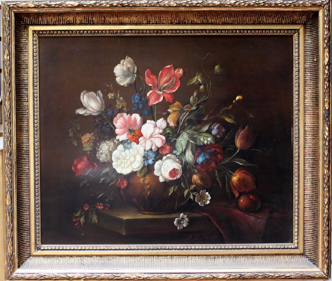 19 Century Oil On Board Still Life Painting By F. Oskar