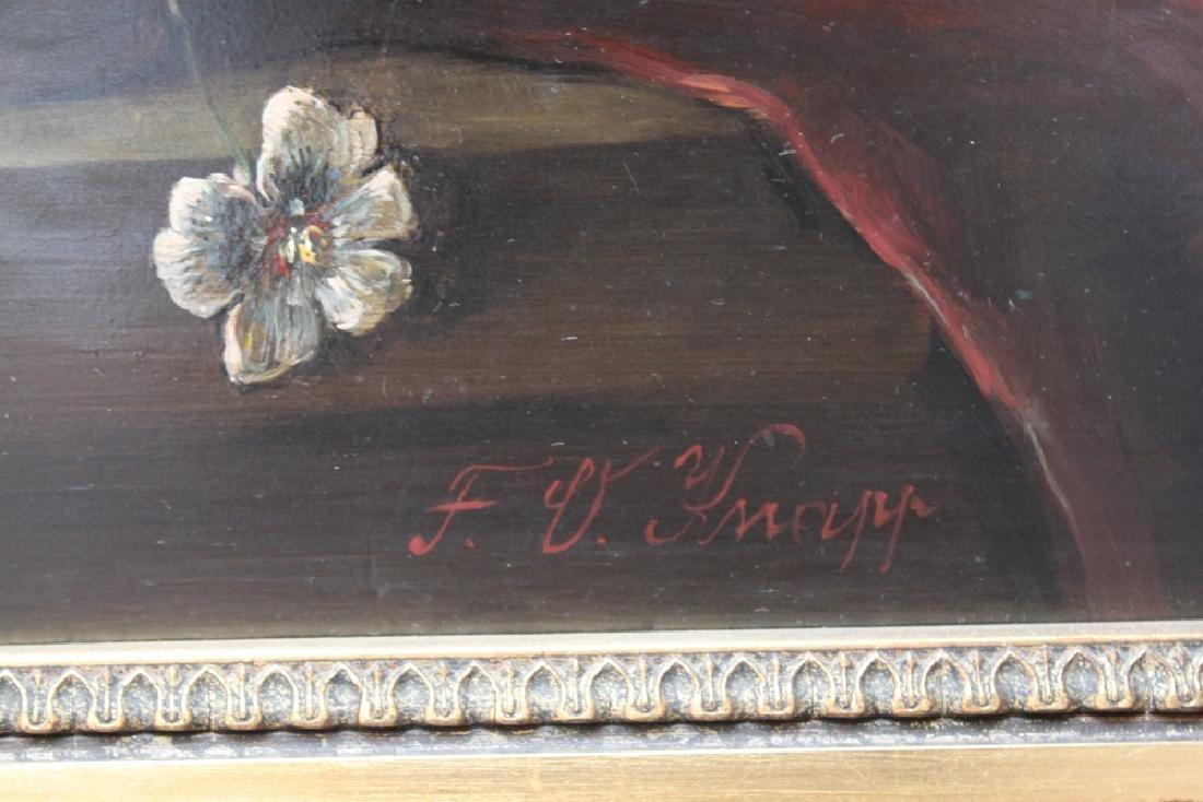 19 Century Oil On Board Still Life Painting By F. Oskar - 2