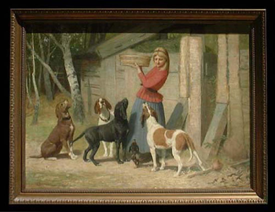 19 Century German Oil on Canvas Painting By Albert