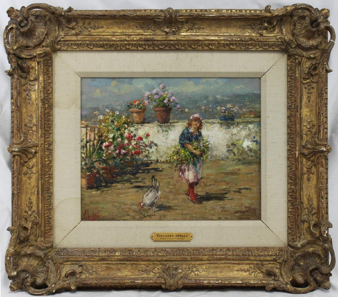 Italian Oil On Canvas Painting By Vincenzo Irolli
