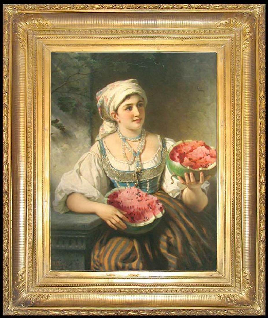 19 Century Oil On Canvas Painting by Anton Ebert