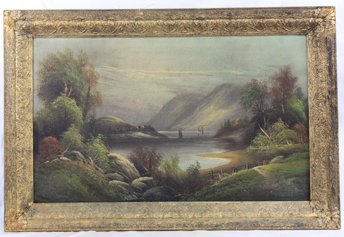 AMERICAN 19 CENTURY OIL LANDSCAPE PAINTING