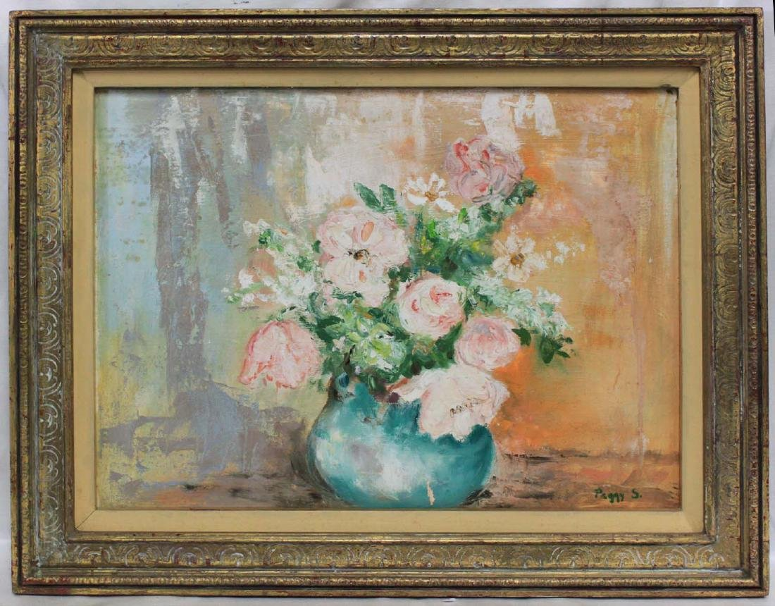FLOWERS OIL ON CANVAS PAINTING BY PEGGY STEWART