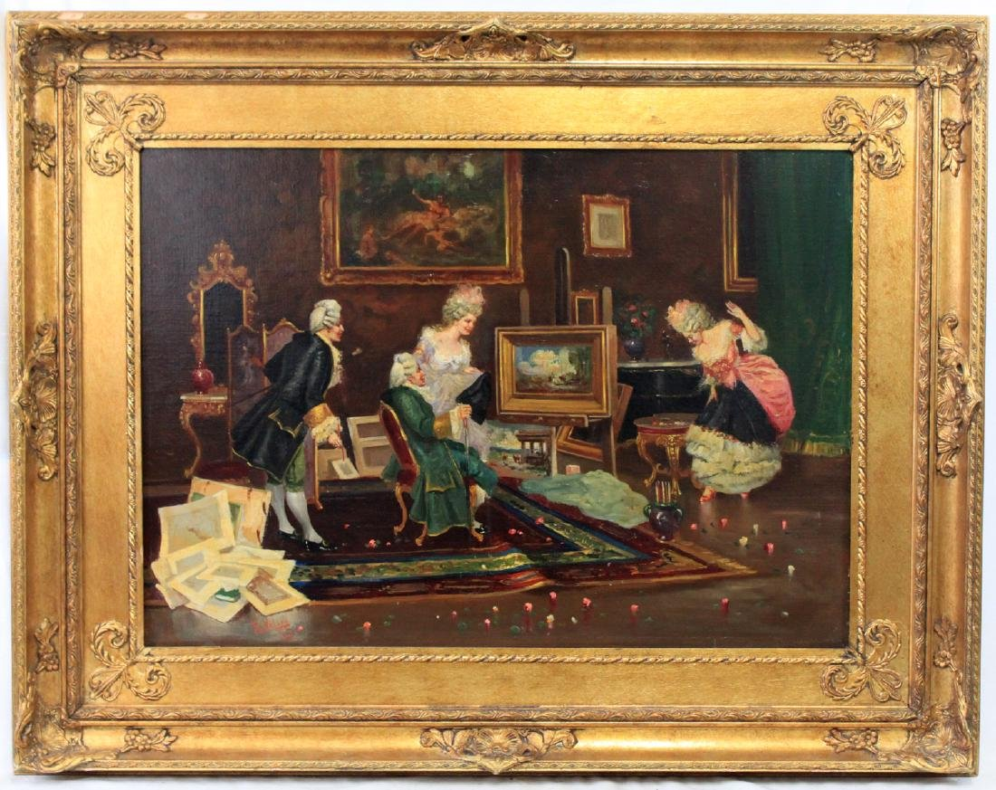 19 Century French Oil On Canvas Painting By Veloni