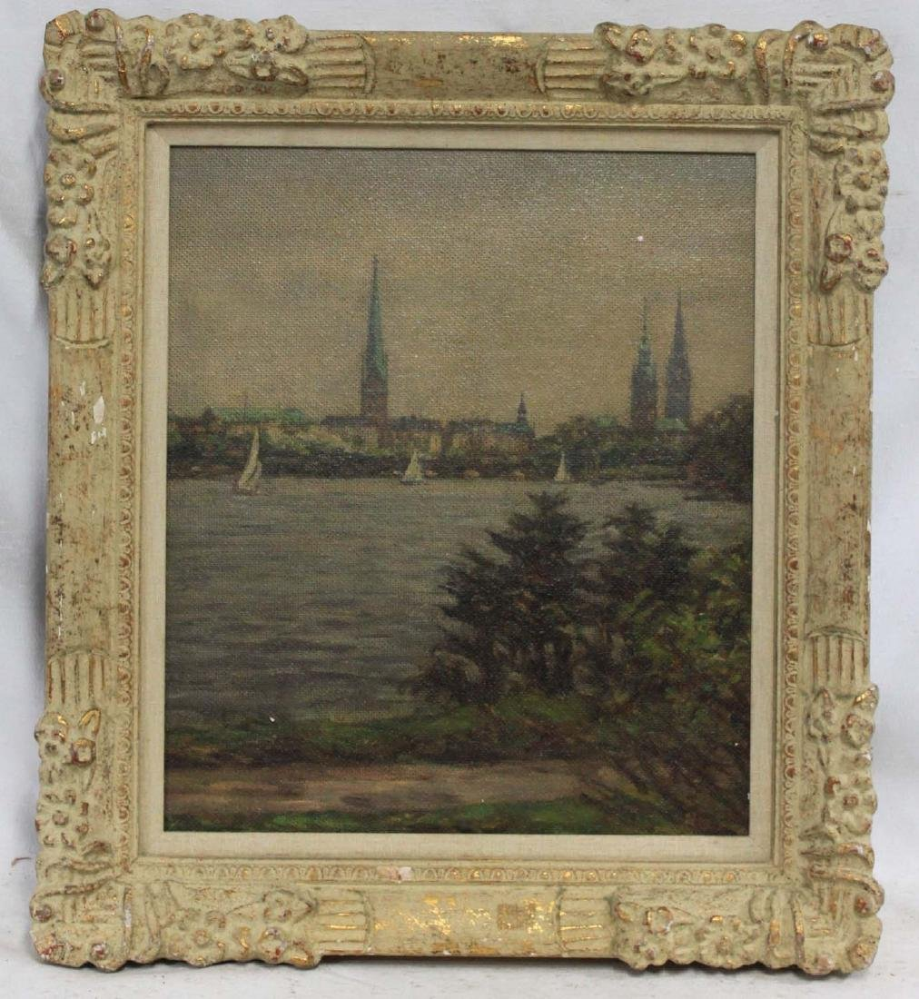 GERMAN OIL ON PANEL PAINTING OF A RIVER Attributed to