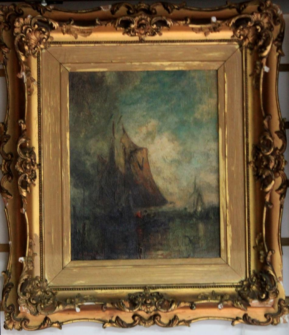 19 Century Oil On Canvas Painting Signed