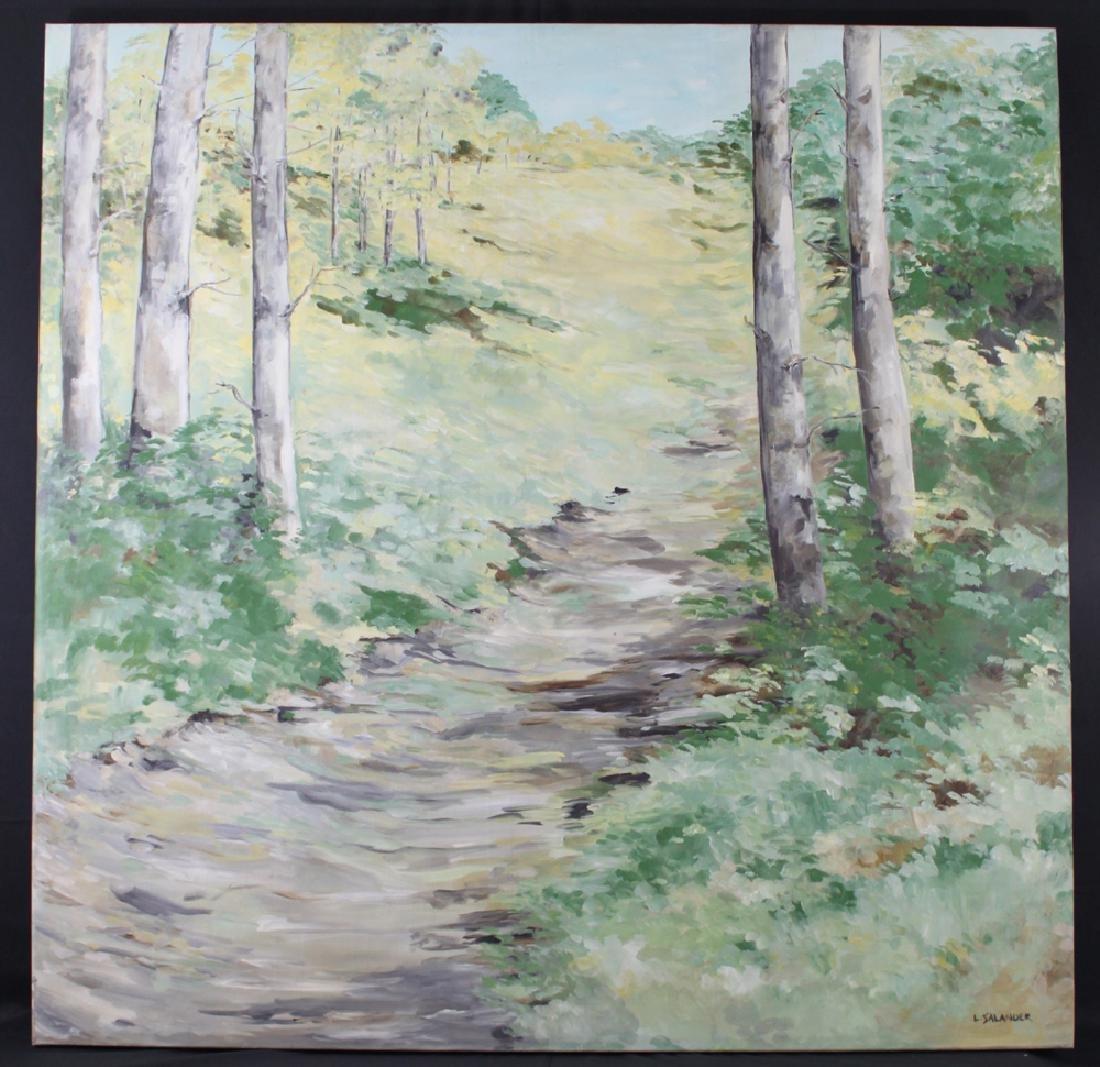 Modern oil on canvas painting signed L. Salander