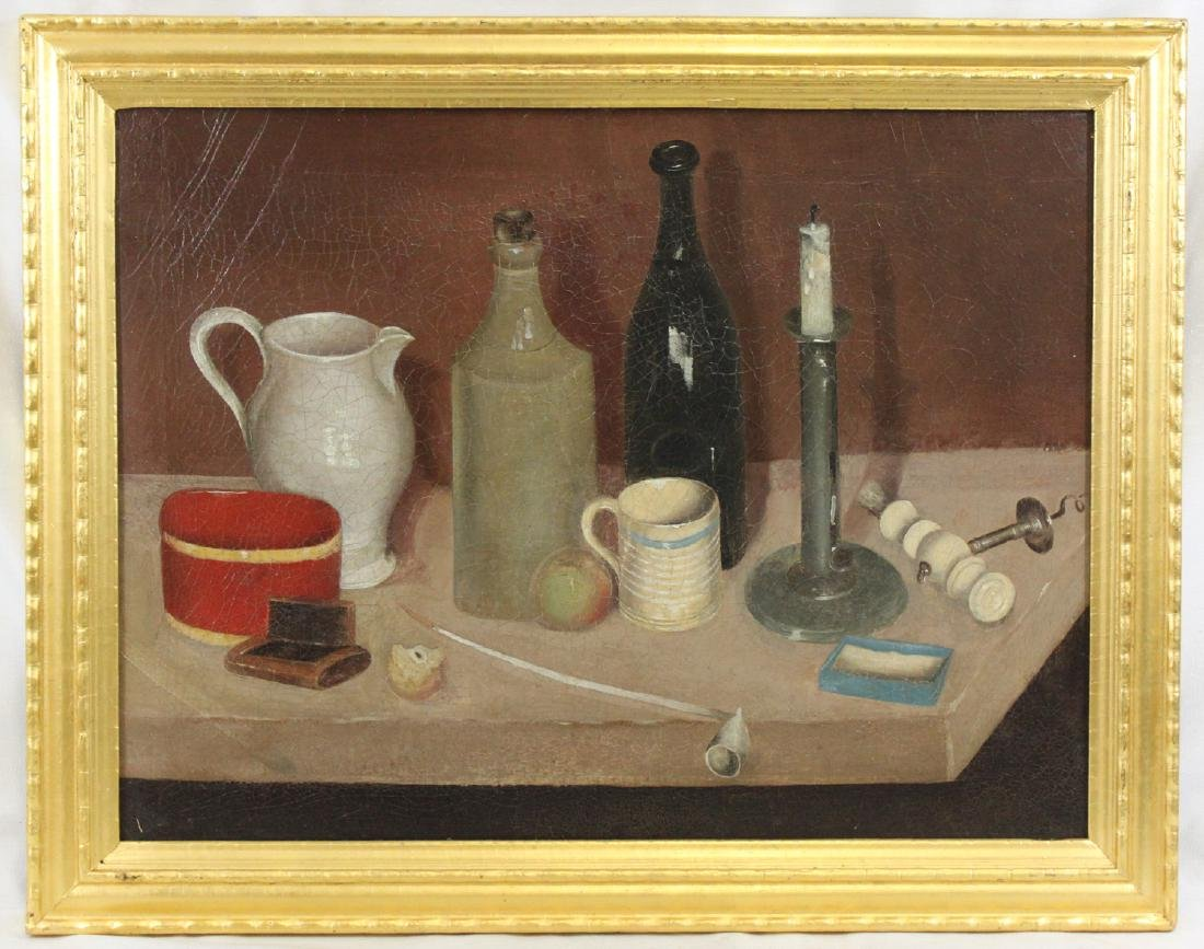 19th Century American School Oil On Canvas Still Life