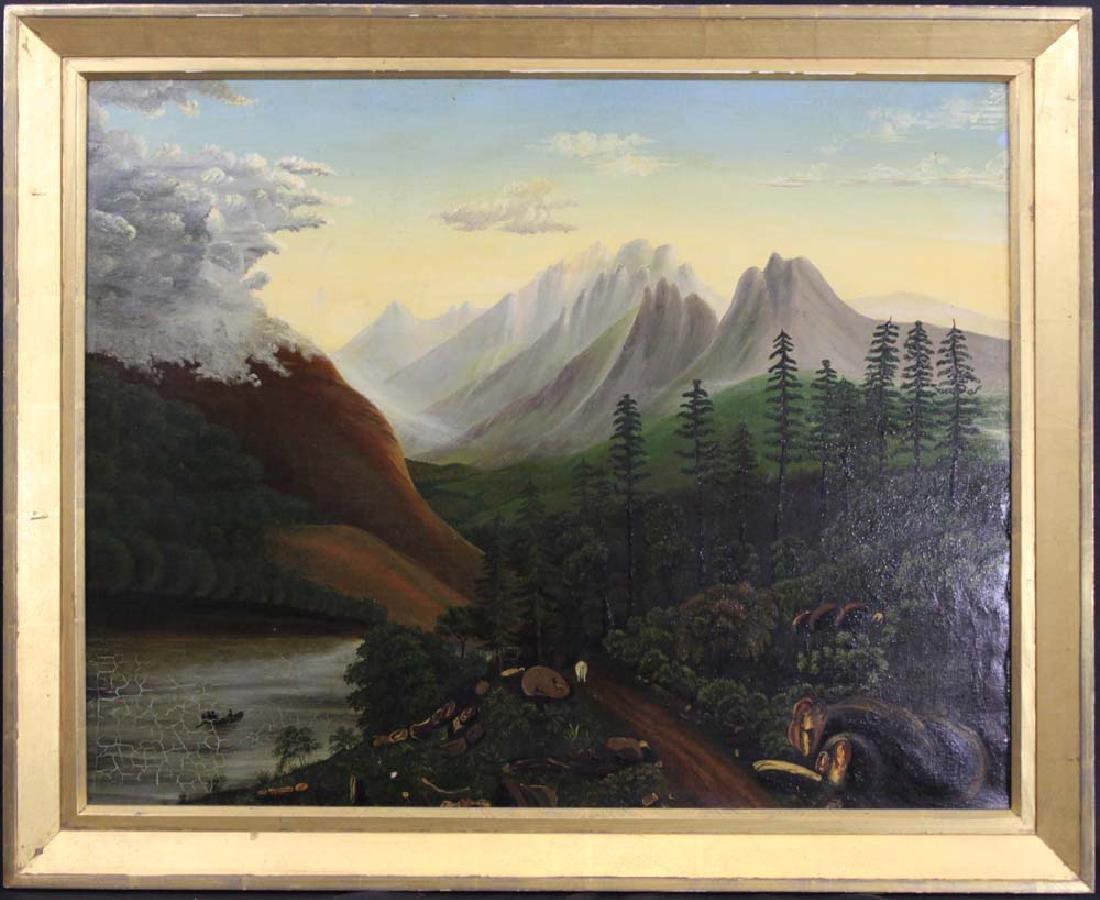 AMERICAN SCHOOL CIRCA 1900 OIL ON CANVAS LANDSCAPE
